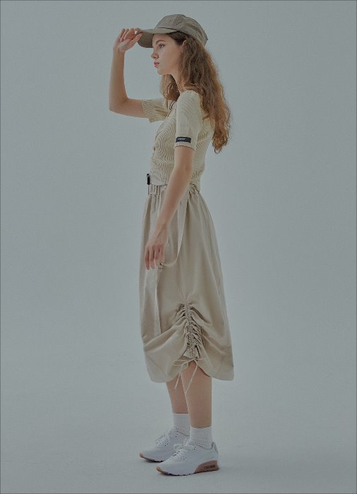 BUCKLE SIDE STRING SKIRT (beige)
