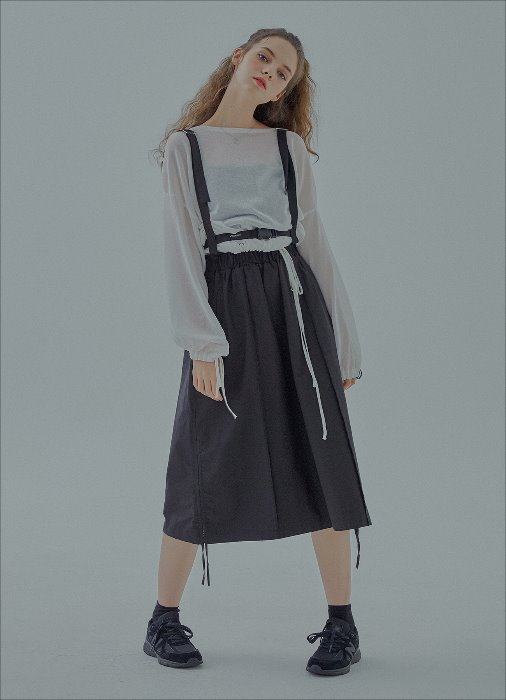 BUCKLE SIDE STRING SKIRT (black)