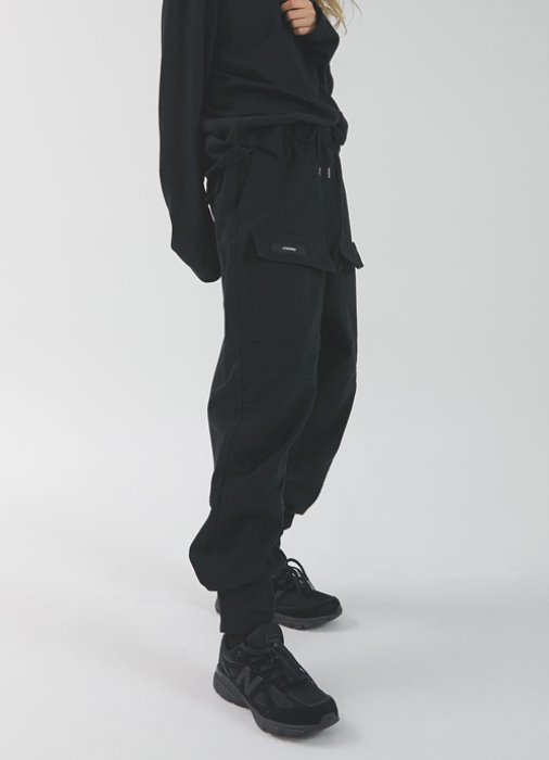 Velcro Front Pocket Pants_(black)