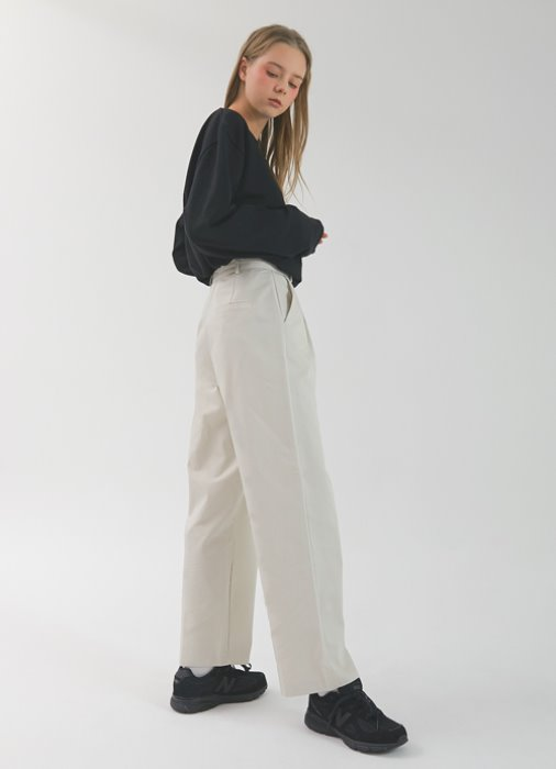 Roll Cotton Pants_(ivory)