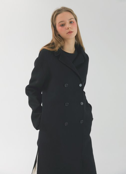 Short Collar Handmade Coat_(black)