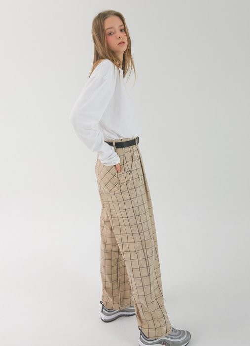 Wide Check Pants_(beige)