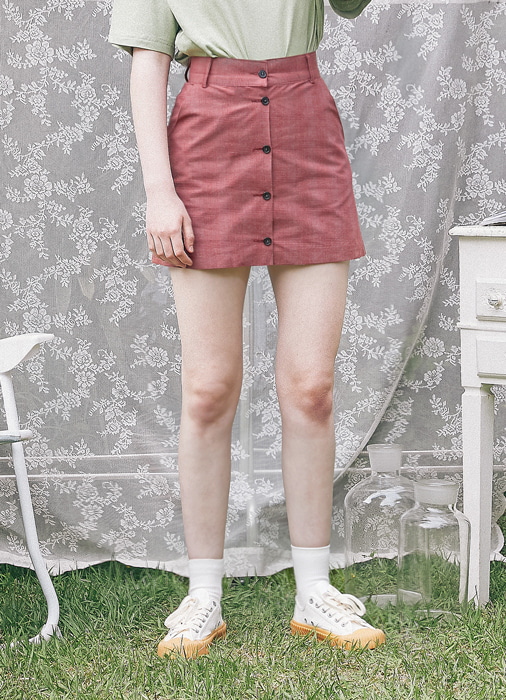 Button Short Skirt_(red)