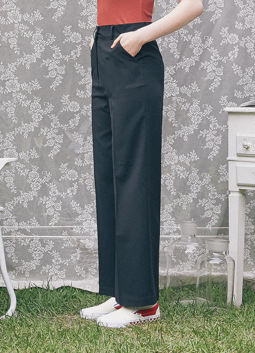 Wide Leg Slacks_(black)