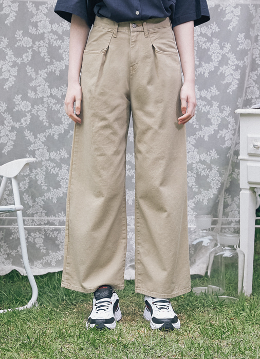 Cotton Washing Wide Pants_(beige)