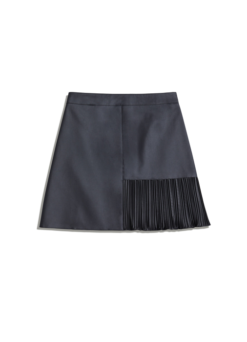 SIDE PLEATS MINI SKIRT (grey)