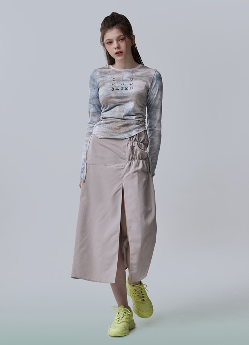 BAND SLIT STITCH SKIRT (beige)