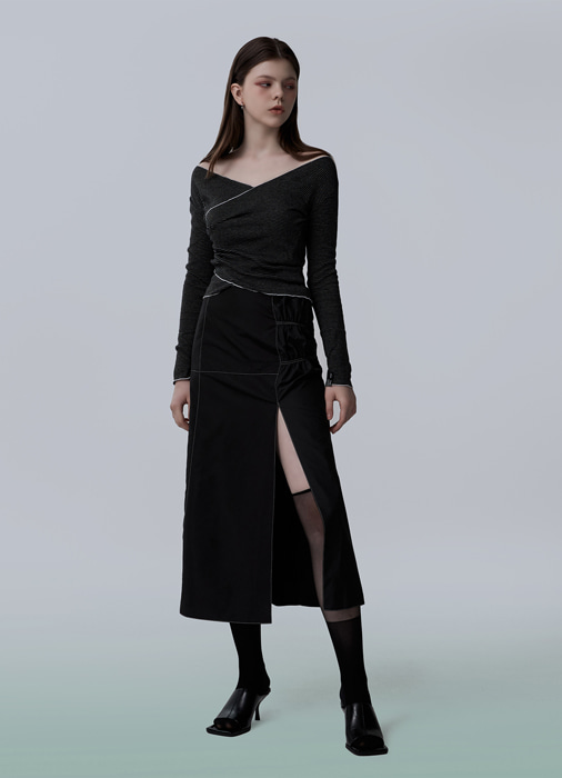 BAND SLIT STITCH SKIRT (black)